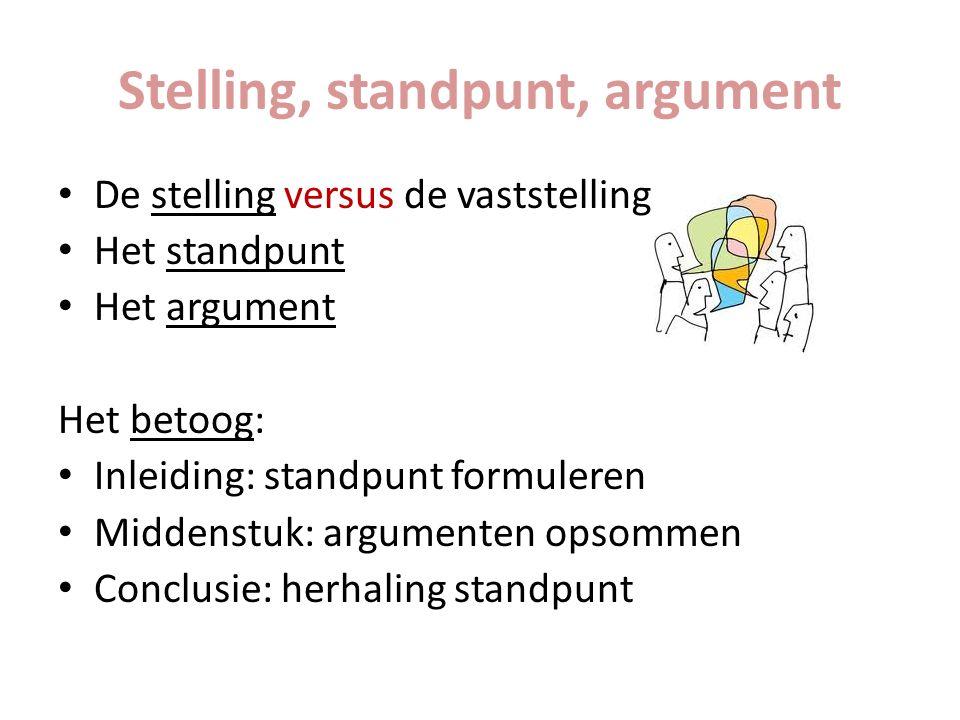 Stelling, standpunt, argument De stelling versus de vaststelling Het standpunt Het argument Het betoog: Inleiding: standpunt formuleren Middenstuk: ar