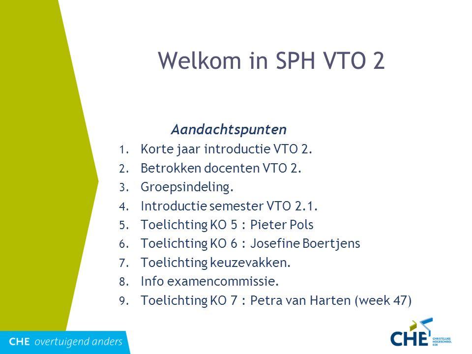 Welkom in SPH VTO 2 Aandachtspunten 1. Korte jaar introductie VTO 2. 2. Betrokken docenten VTO 2. 3. Groepsindeling. 4. Introductie semester VTO 2.1.