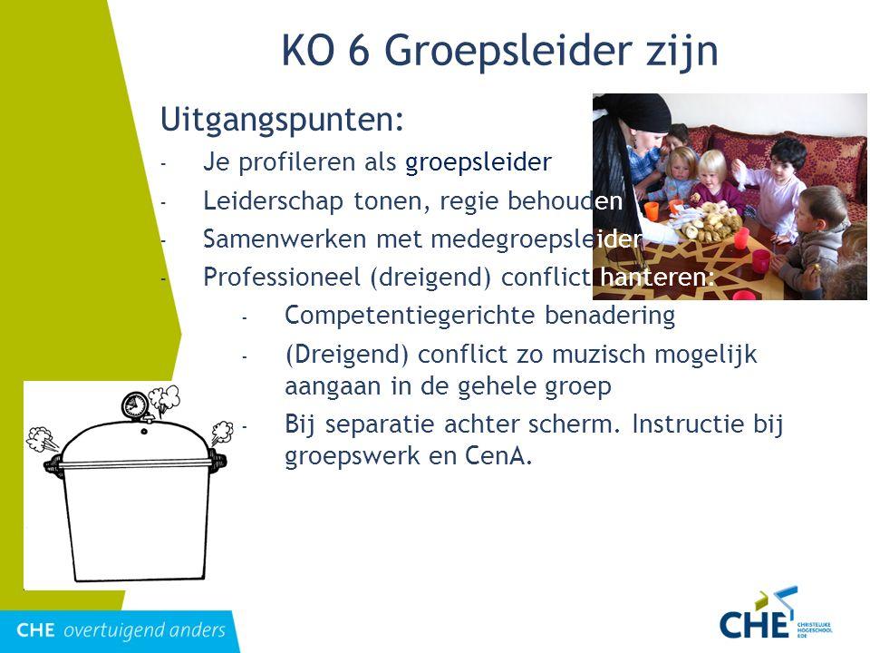 KO 6 Groepsleider zijn Uitgangspunten: - Je profileren als groepsleider - Leiderschap tonen, regie behouden - Samenwerken met medegroepsleider - Profe