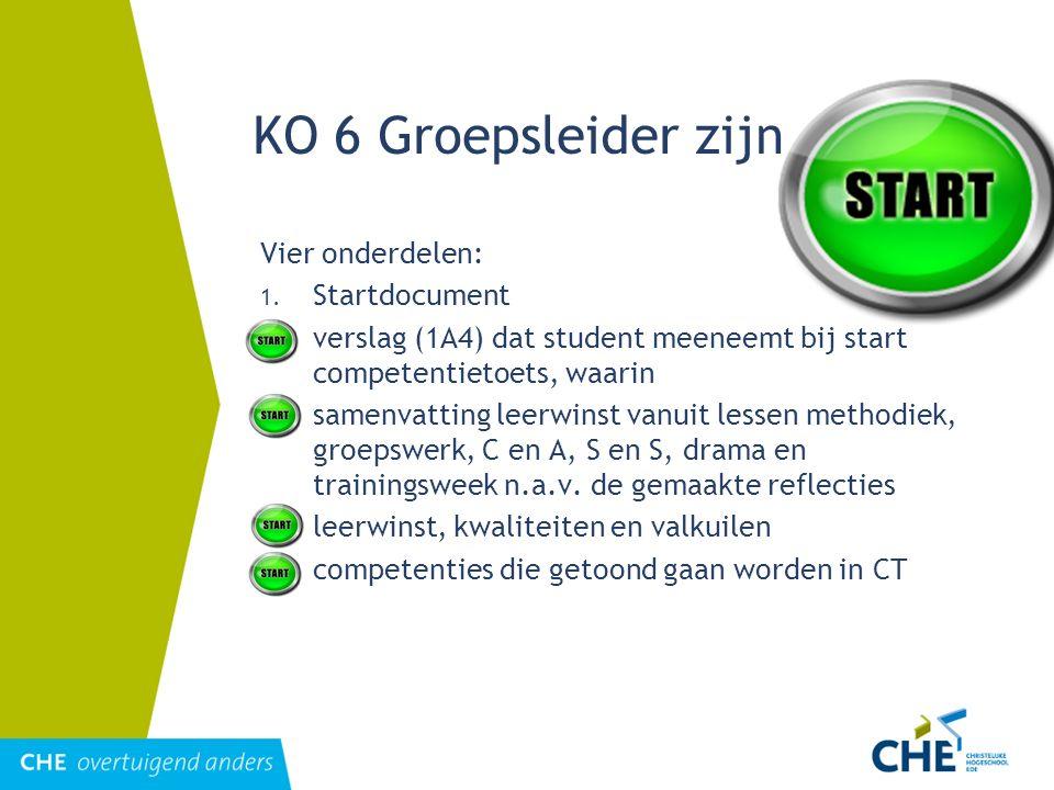 KO 6 Groepsleider zijn Vier onderdelen: 1. Startdocument =verslag (1A4) dat student meeneemt bij start competentietoets, waarin = samenvatting leerwin