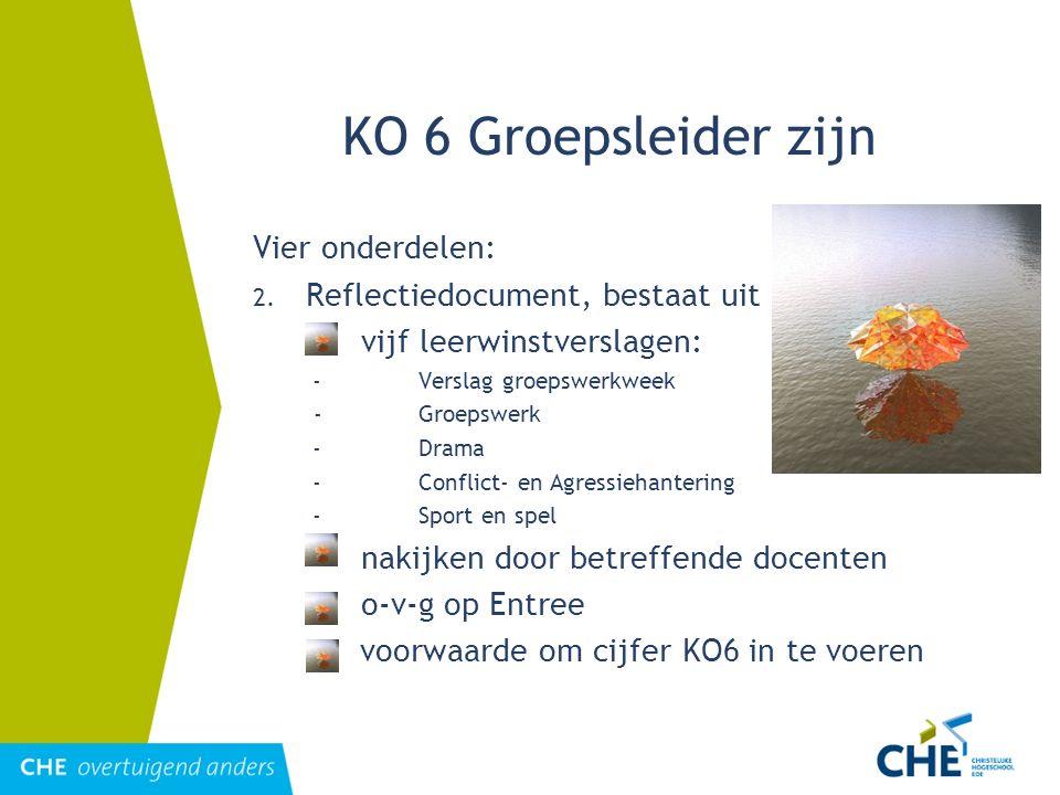 KO 6 Groepsleider zijn Vier onderdelen: 2. Reflectiedocument, bestaat uit vijf leerwinstverslagen: -Verslag groepswerkweek -Groepswerk -Drama -Conflic