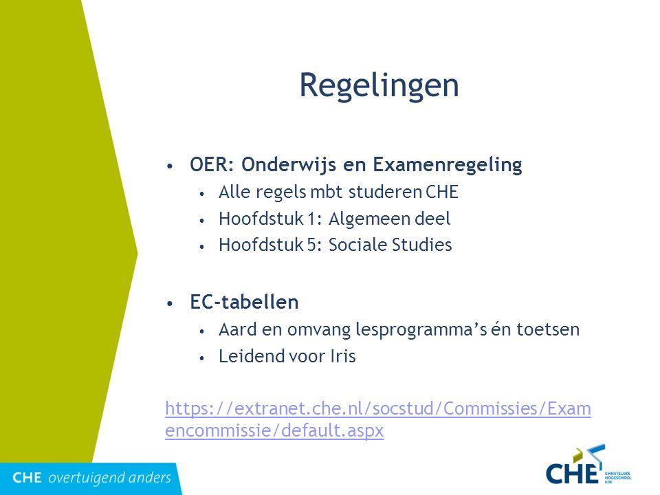 Regelingen OER: Onderwijs en Examenregeling Alle regels mbt studeren CHE Hoofdstuk 1: Algemeen deel Hoofdstuk 5: Sociale Studies EC-tabellen Aard en o
