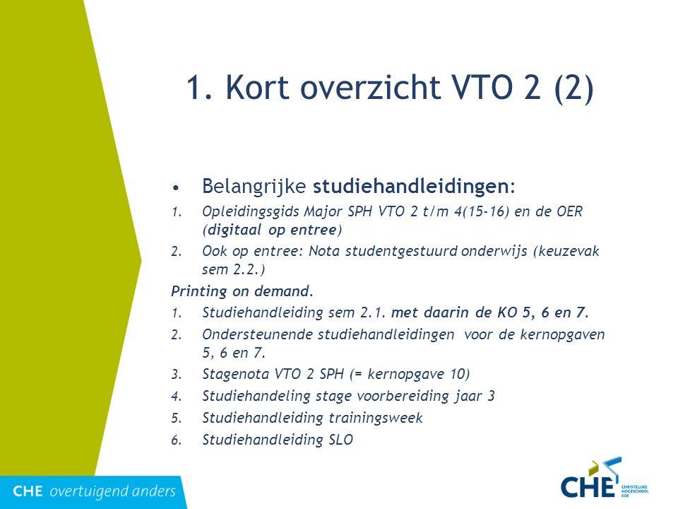 1. Kort overzicht VTO 2 (2) Belangrijke studiehandleidingen: 1. Opleidingsgids Major SPH VTO 2 t/m 4(15-16) en de OER (digitaal op entree) 2. Ook op e