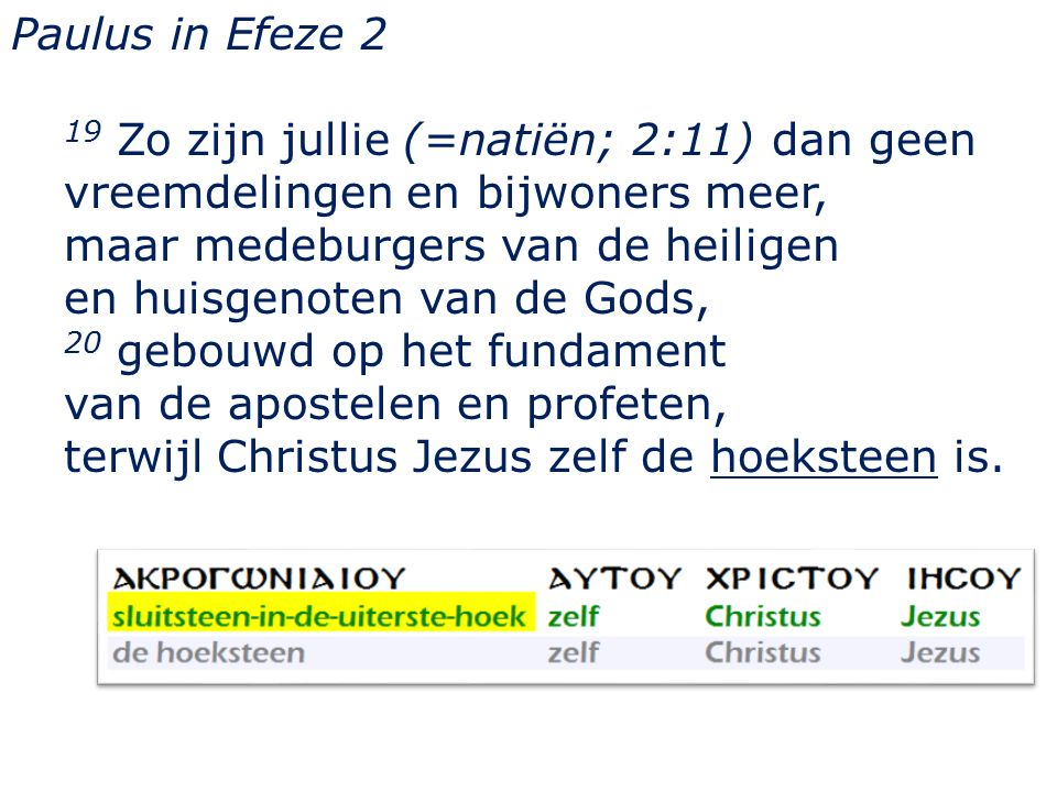 Paulus in Efeze 2 19 Zo zijn jullie (=natiën; 2:11) dan geen vreemdelingen en bijwoners meer, maar medeburgers van de heiligen en huisgenoten van de Gods, 20 gebouwd op het fundament van de apostelen en profeten, terwijl Christus Jezus zelf de hoeksteen is.