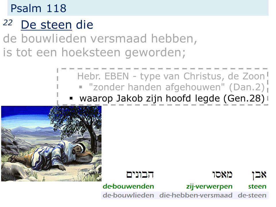 Psalm 118 22 De steen die de bouwlieden versmaad hebben, is tot een hoeksteen geworden; Hebr.