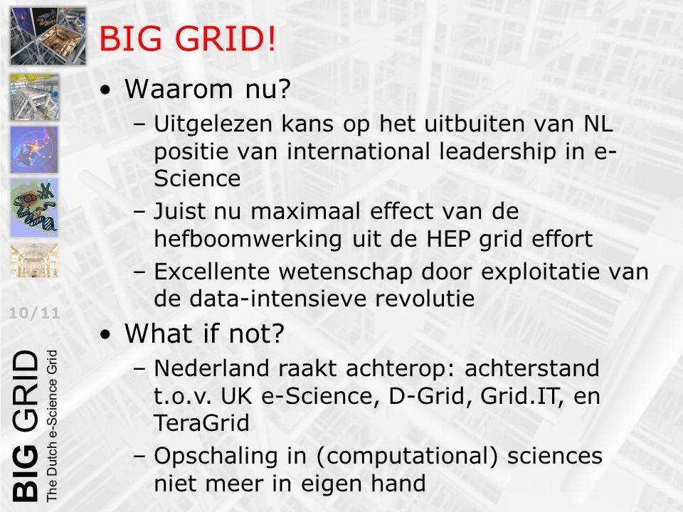 10/11 BIG GRID! Waarom nu? –Uitgelezen kans op het uitbuiten van NL positie van international leadership in e- Science –Juist nu maximaal effect van d
