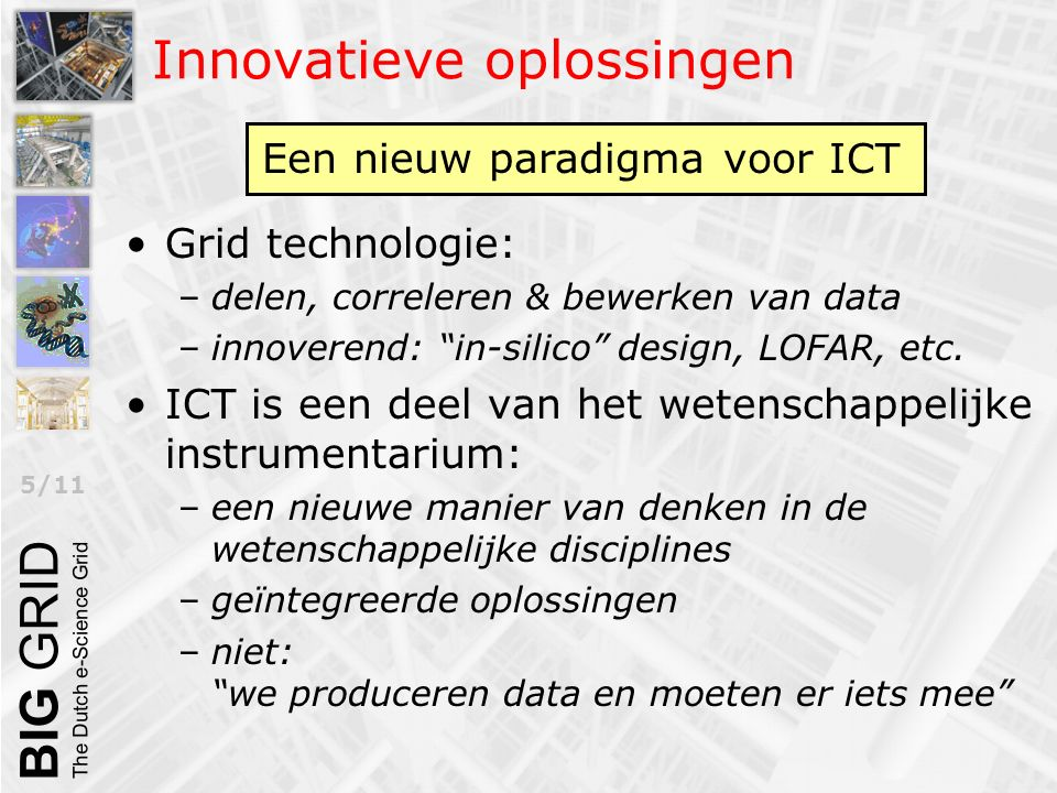 "5/11 Innovatieve oplossingen Grid technologie: –delen, correleren & bewerken van data –innoverend: ""in-silico"" design, LOFAR, etc. ICT is een deel van"
