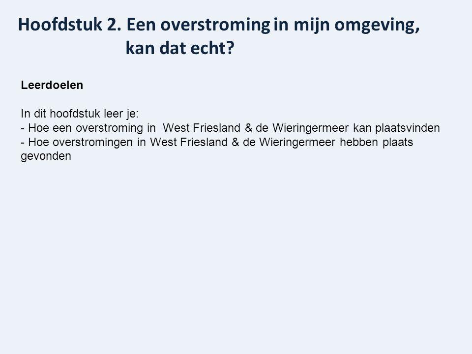 Leerdoelen In dit hoofdstuk leer je: - Hoe een overstroming in West Friesland & de Wieringermeer kan plaatsvinden - Hoe overstromingen in West Friesla