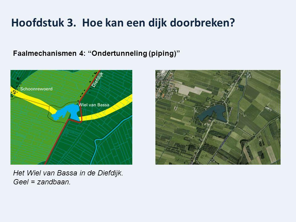 """Hoofdstuk 3. Hoe kan een dijk doorbreken? Faalmechanismen 4: """"Ondertunneling (piping)"""" Het Wiel van Bassa in de Diefdijk. Geel = zandbaan."""