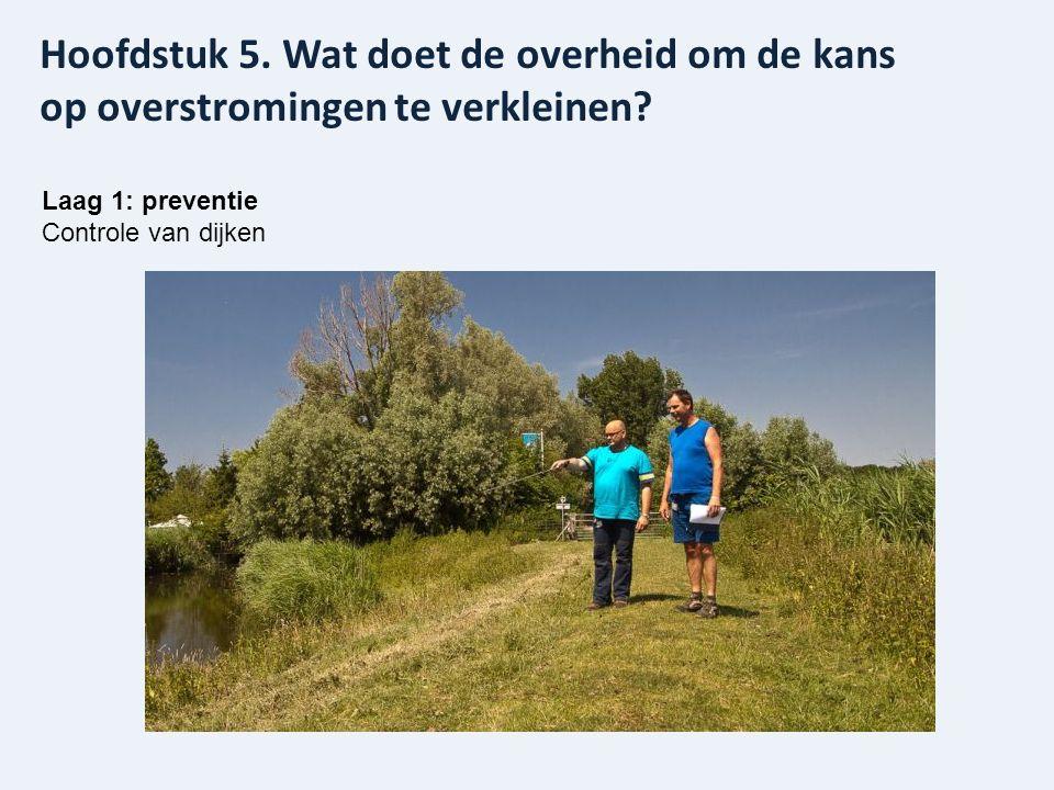 Laag 1: preventie Controle van dijken Hoofdstuk 5. Wat doet de overheid om de kans op overstromingen te verkleinen?