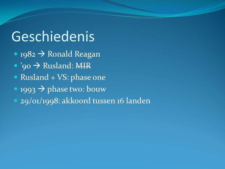 Geschiedenis 1982  Ronald Reagan '90  Rusland: MIR Rusland + VS: phase one 1993  phase two: bouw 29/01/1998: akkoord tussen 16 landen