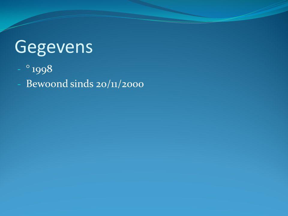 Gegevens - ° 1998 - Bewoond sinds 20/11/2000