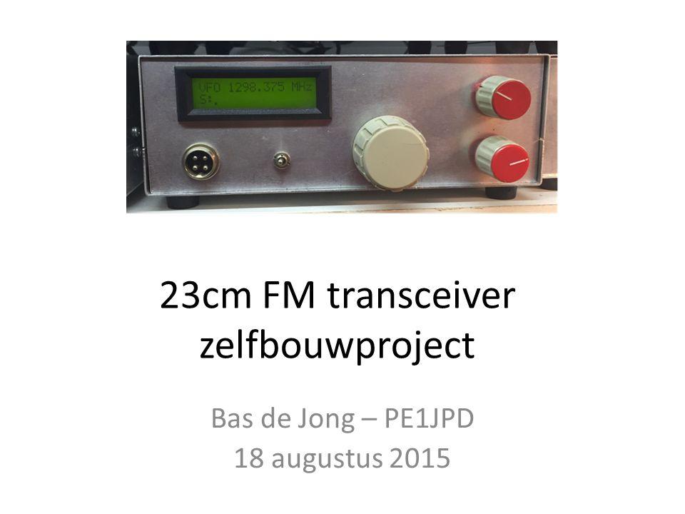 Kenmerken transceiver Dekt de gehele band van 1240 – 1300 MHz In raster van 25 kHz Simplexverkeer en via repeater (28 MHz shift) Output 0,5-1W Besturing d.m.v.