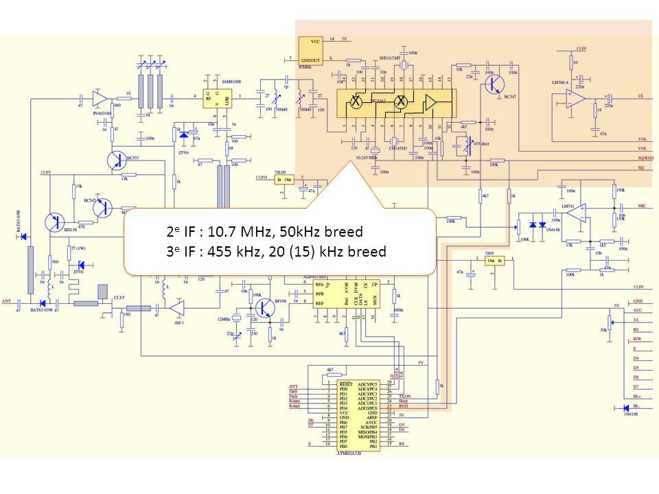 X 2 e IF : 10.7 MHz, 50kHz breed 3 e IF : 455 kHz, 20 (15) kHz breed 2 e IF : 10.7 MHz, 50kHz breed 3 e IF : 455 kHz, 20 (15) kHz breed XX