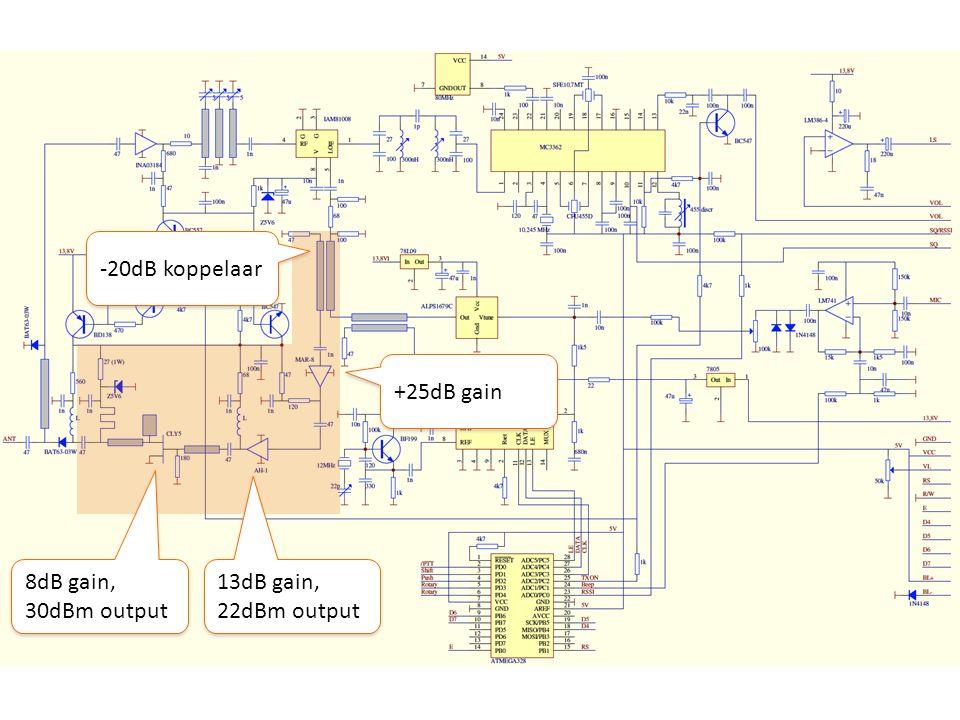 13dB gain, 22dBm output -20dB koppelaar +25dB gain 8dB gain, 30dBm output