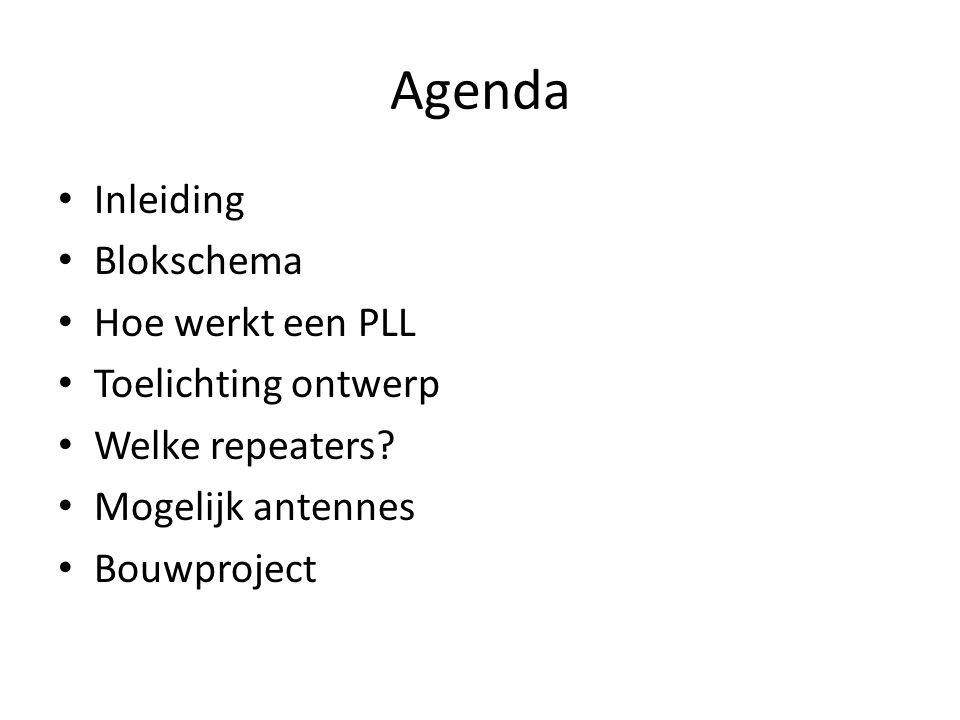 Agenda Inleiding Blokschema Hoe werkt een PLL Toelichting ontwerp Welke repeaters? Mogelijk antennes Bouwproject