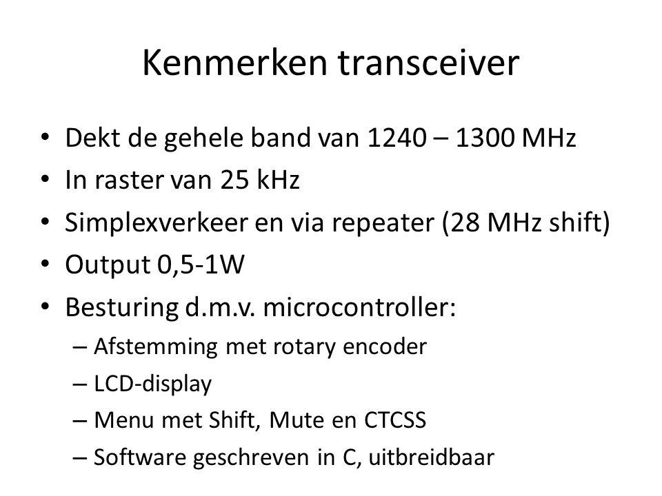 Kenmerken transceiver Dekt de gehele band van 1240 – 1300 MHz In raster van 25 kHz Simplexverkeer en via repeater (28 MHz shift) Output 0,5-1W Besturi