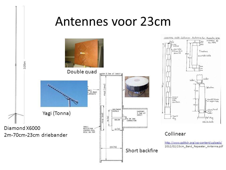 Antennes voor 23cm Diamond X6000 2m-70cm-23cm driebander Double quad Short backfire Yagi (Tonna) http://www.sp9kdr.org/wp-content/uploads/ 2012/02/23cm_Band_Repeater_Antenna.pdf Collinear