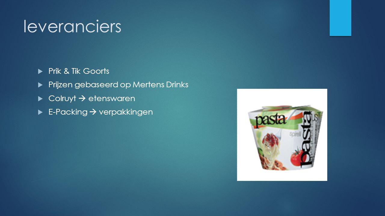 leveranciers  Prik & Tik Goorts  Prijzen gebaseerd op Mertens Drinks  Colruyt  etenswaren  E-Packing  verpakkingen