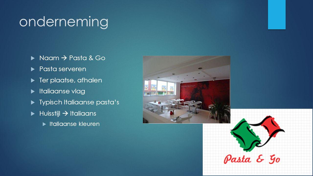 onderneming  Naam  Pasta & Go  Pasta serveren  Ter plaatse, afhalen  Italiaanse vlag  Typisch Italiaanse pasta's  Huisstijl  Italiaans  Itali