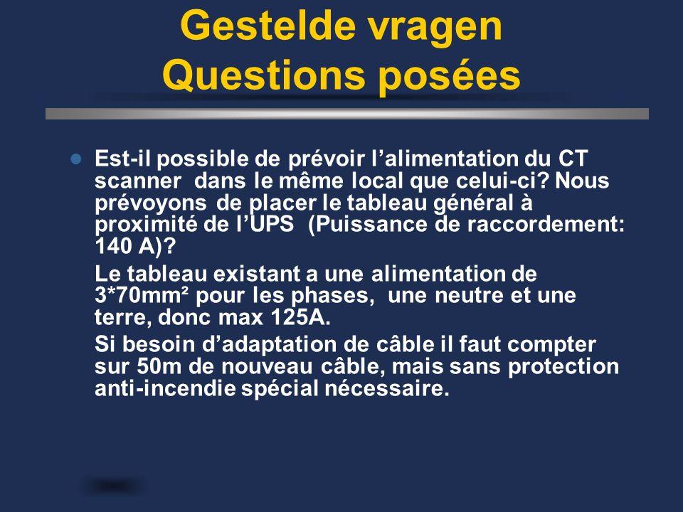 Gestelde vragen Questions posées Est-il possible de prévoir l'alimentation du CT scanner dans le même local que celui-ci.