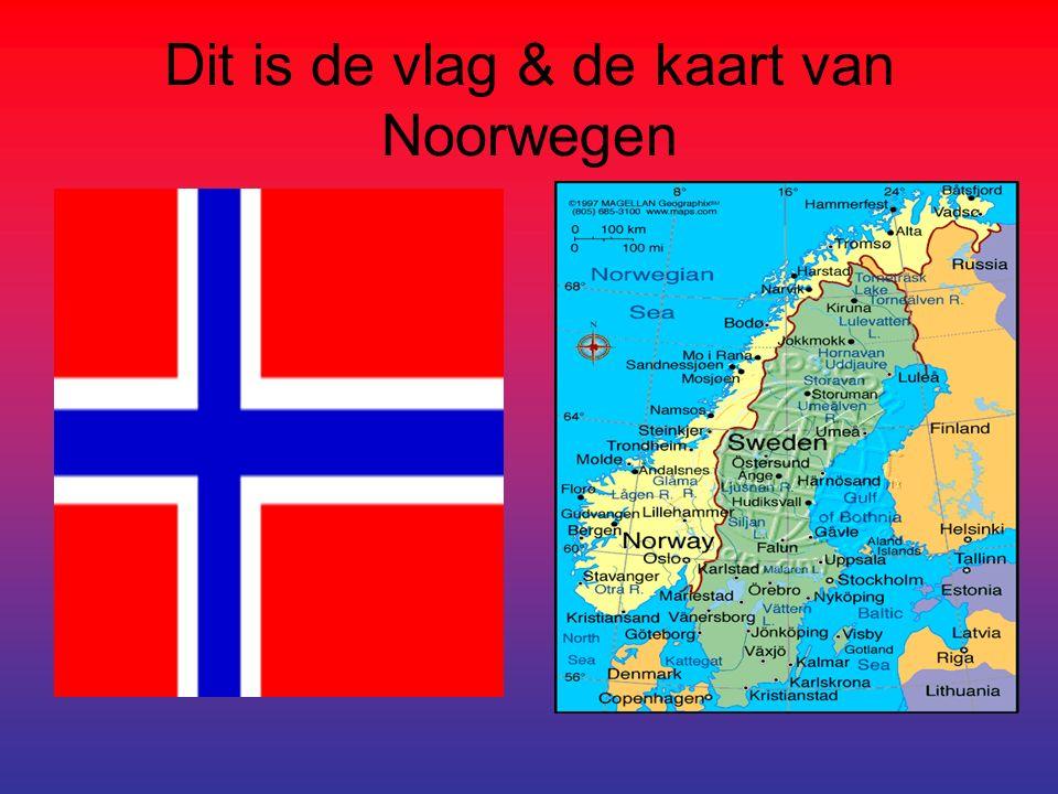 Dit is de vlag & de kaart van Noorwegen