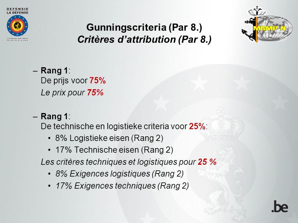 Gunningscriteria (Par 8.) Critères d'attribution (Par 8.) –Rang 1: De prijs voor 75% Le prix pour 75% –Rang 1: De technische en logistieke criteria voor 25%: 8% Logistieke eisen (Rang 2) 17% Technische eisen (Rang 2) Les critères techniques et logistiques pour 25 % 8% Exigences logistiques (Rang 2) 17% Exigences techniques (Rang 2)
