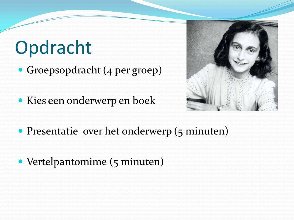 Opdracht Groepsopdracht (4 per groep) Kies een onderwerp en boek Presentatie over het onderwerp (5 minuten) Vertelpantomime (5 minuten)