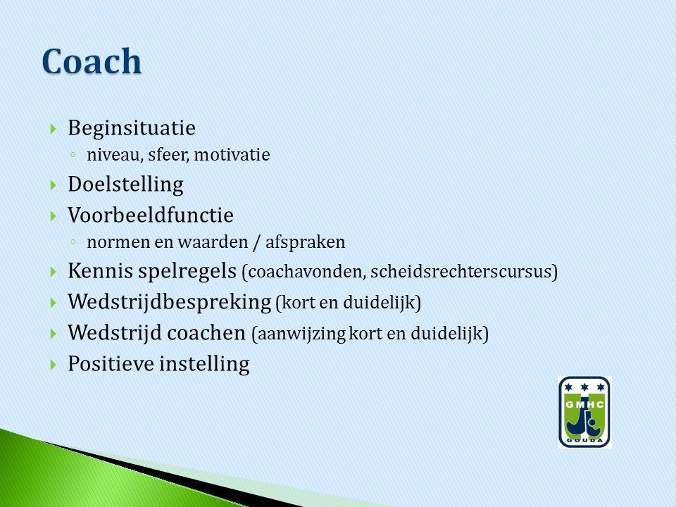  Beginsituatie ◦ niveau, sfeer, motivatie  Doelstelling  Voorbeeldfunctie ◦ normen en waarden / afspraken  Kennis spelregels (coachavonden, scheid