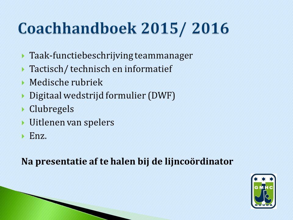  Taak-functiebeschrijving teammanager  Tactisch/ technisch en informatief  Medische rubriek  Digitaal wedstrijd formulier (DWF)  Clubregels  Uitlenen van spelers  Enz.