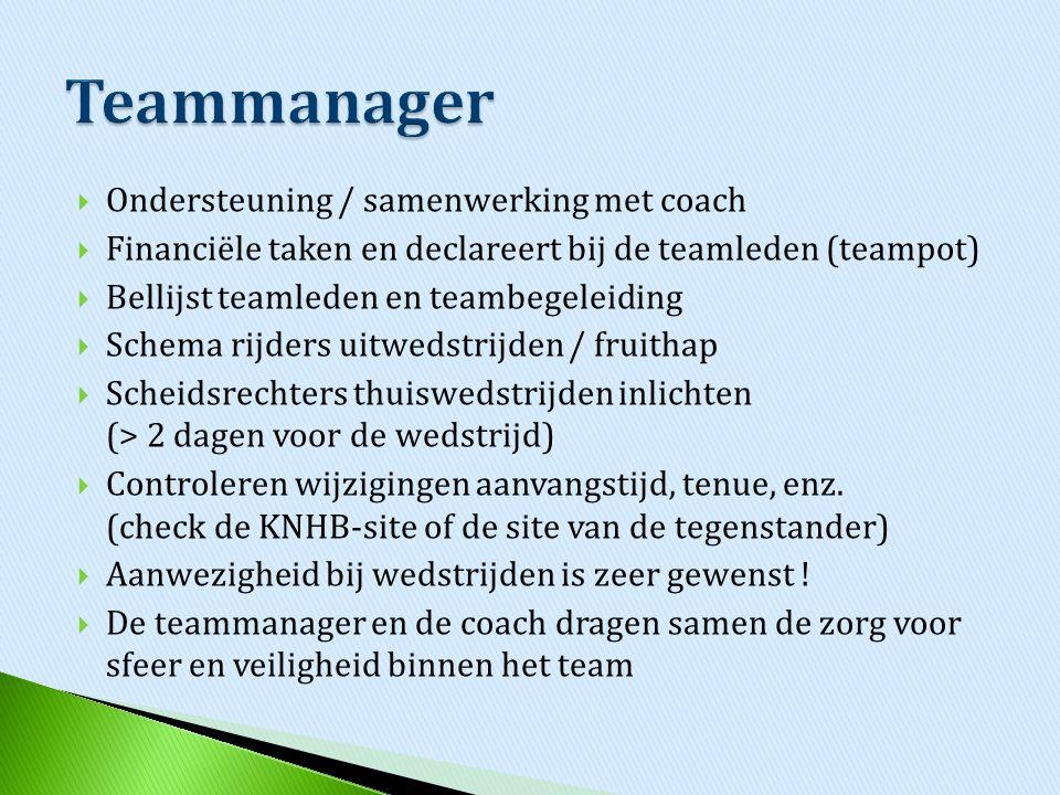  Ondersteuning / samenwerking met coach  Financiële taken en declareert bij de teamleden (teampot)  Bellijst teamleden en teambegeleiding  Schema