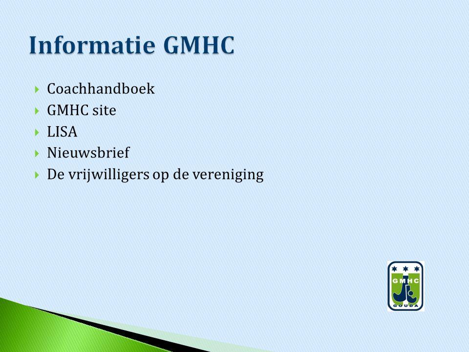  Coachhandboek  GMHC site  LISA  Nieuwsbrief  De vrijwilligers op de vereniging
