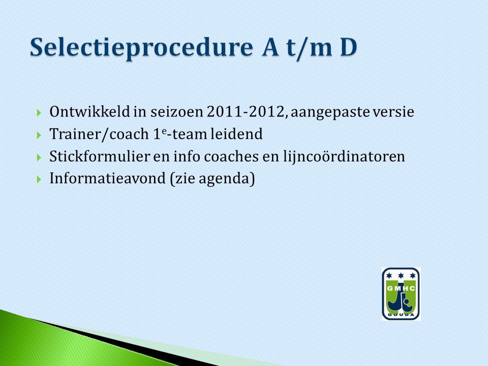  Ontwikkeld in seizoen 2011-2012, aangepaste versie  Trainer/coach 1 e -team leidend  Stickformulier en info coaches en lijncoördinatoren  Informa