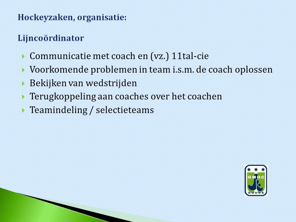  Communicatie met coach en (vz.) 11tal-cie  Voorkomende problemen in team i.s.m. de coach oplossen  Bekijken van wedstrijden  Terugkoppeling aan c