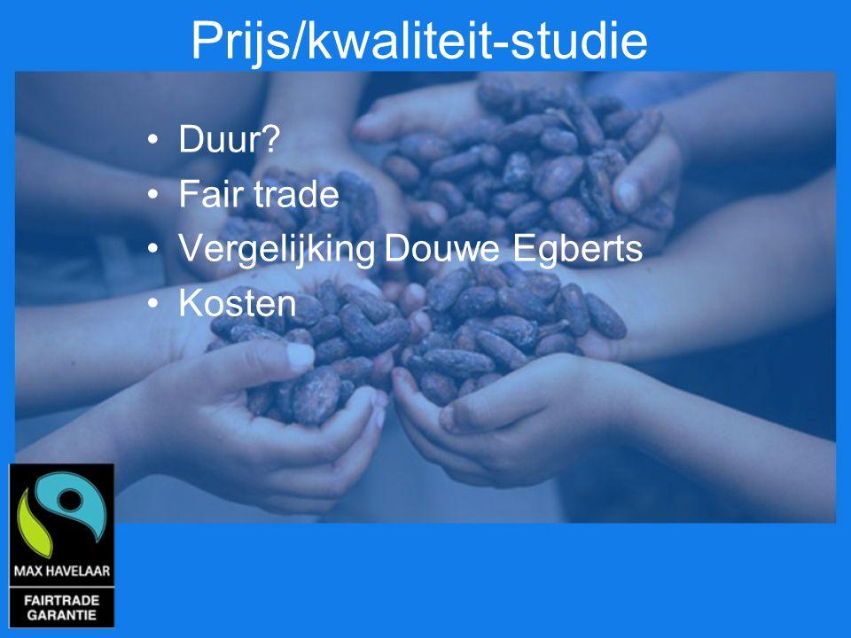 Prijs/kwaliteit-studie Duur? Fair trade Vergelijking Douwe Egberts Kosten