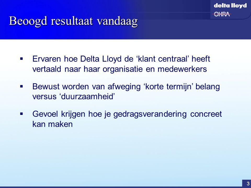 4 Delta Lloyd Groep  Top 3 verzekeraar in Nederland  Werkt met meerdere merken: Delta Lloyd, OHRA en ABN AMRO Verzekeringen  Kerncijfers 2003 : - Omzet:€ 7,4 miljard - Netto resultaat€ 247 miljoen - Eigen vermogen € 2,2 miljard - Totaal beheerd vermogen€ 41,0 miljard - Solvabiliteit220 % - Aantal medewerkers6.500