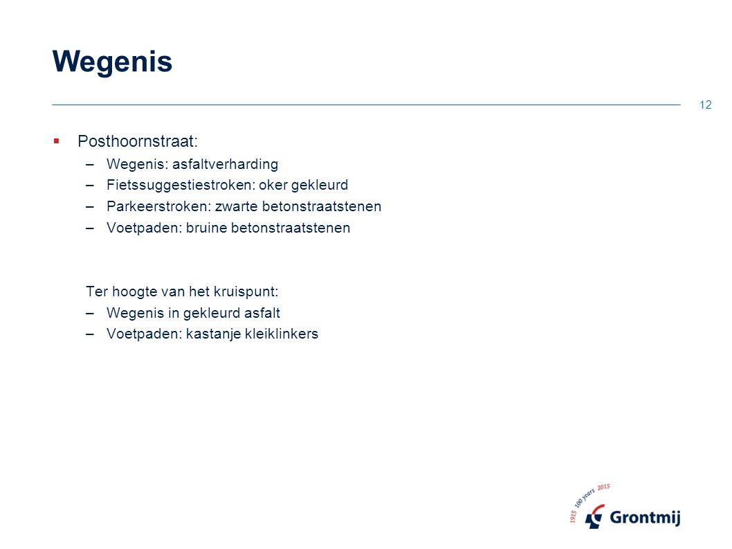 Wegenis  Posthoornstraat: –Wegenis: asfaltverharding –Fietssuggestiestroken: oker gekleurd –Parkeerstroken: zwarte betonstraatstenen –Voetpaden: brui