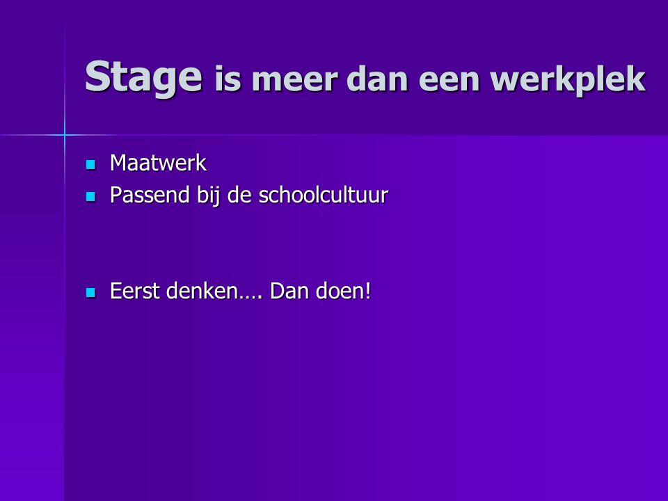 Stage is meer dan een werkplek Maatwerk Maatwerk Passend bij de schoolcultuur Passend bij de schoolcultuur Eerst denken….
