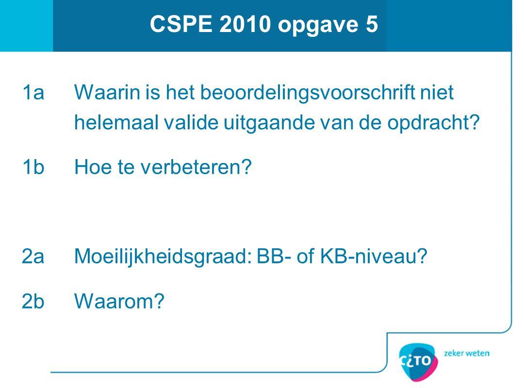 CSPE 2010 opgave 5 1aWaarin is het beoordelingsvoorschrift niet helemaal valide uitgaande van de opdracht? 1bHoe te verbeteren? 2aMoeilijkheidsgraad: