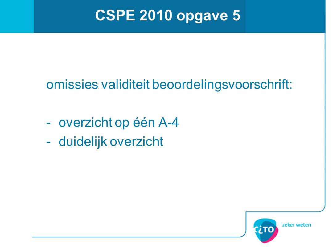 CSPE 2010 opgave 5 omissies validiteit beoordelingsvoorschrift: -overzicht op één A-4 -duidelijk overzicht