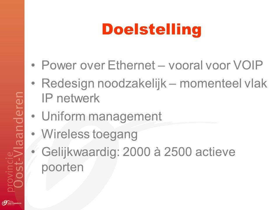 Doelstelling Power over Ethernet – vooral voor VOIP Redesign noodzakelijk – momenteel vlak IP netwerk Uniform management Wireless toegang Gelijkwaardi