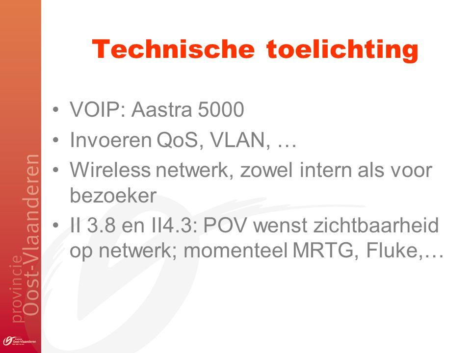 Technische toelichting VOIP: Aastra 5000 Invoeren QoS, VLAN, … Wireless netwerk, zowel intern als voor bezoeker II 3.8 en II4.3: POV wenst zichtbaarhe
