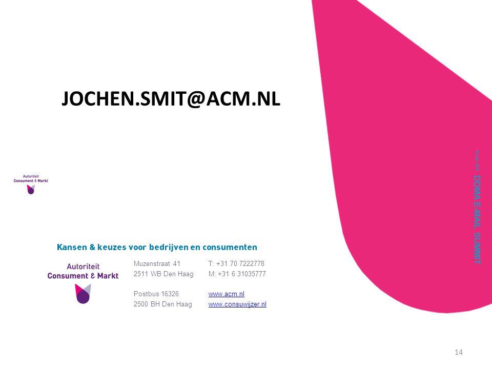 DDMA E-MAIL SUMMIT 18 juni 2015 14 VRAGEN? Muzenstraat 41 2511 WB Den Haag T: +31 70 7222778 M: +31 6 31035777 Postbus 16326 2500 BH Den Haag www.acm.
