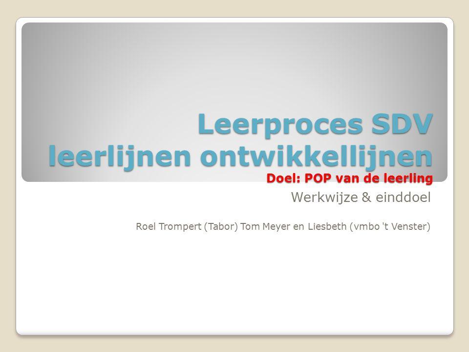 Leerproces SDV leerlijnen ontwikkellijnen Doel: POP van de leerling Werkwijze & einddoel Roel Trompert (Tabor) Tom Meyer en Liesbeth (vmbo 't Venster)