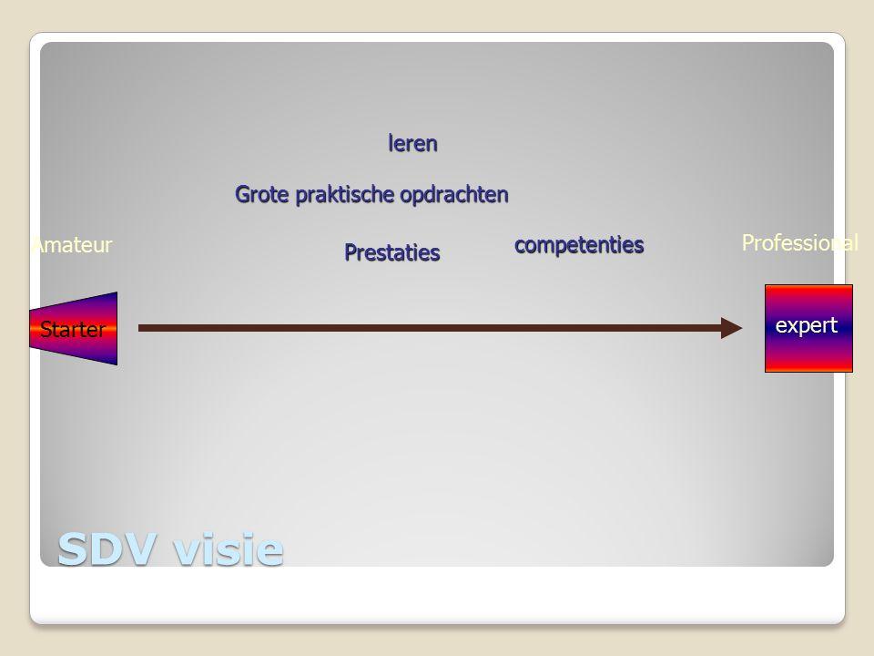 Grote praktische opdrachten leren Prestaties Starter expert Amateur competenties Professional SDV visie