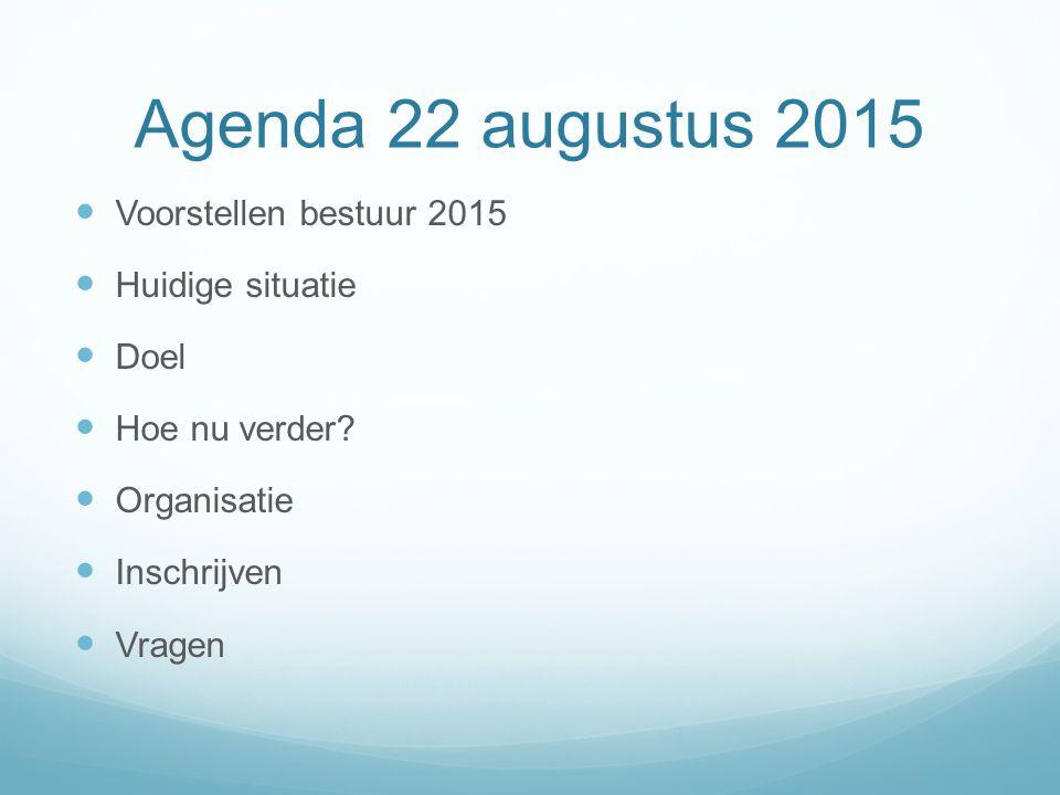 Agenda 22 augustus 2015 Voorstellen bestuur 2015 Huidige situatie Doel Hoe nu verder.