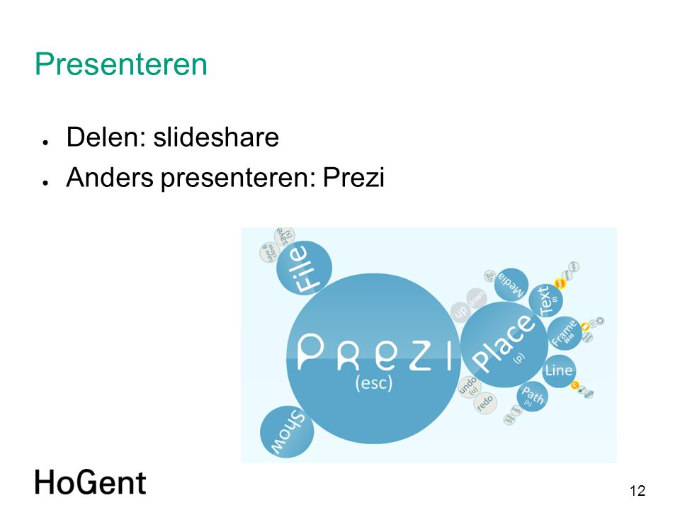12 Presenteren ● Delen: slideshare ● Anders presenteren: Prezi