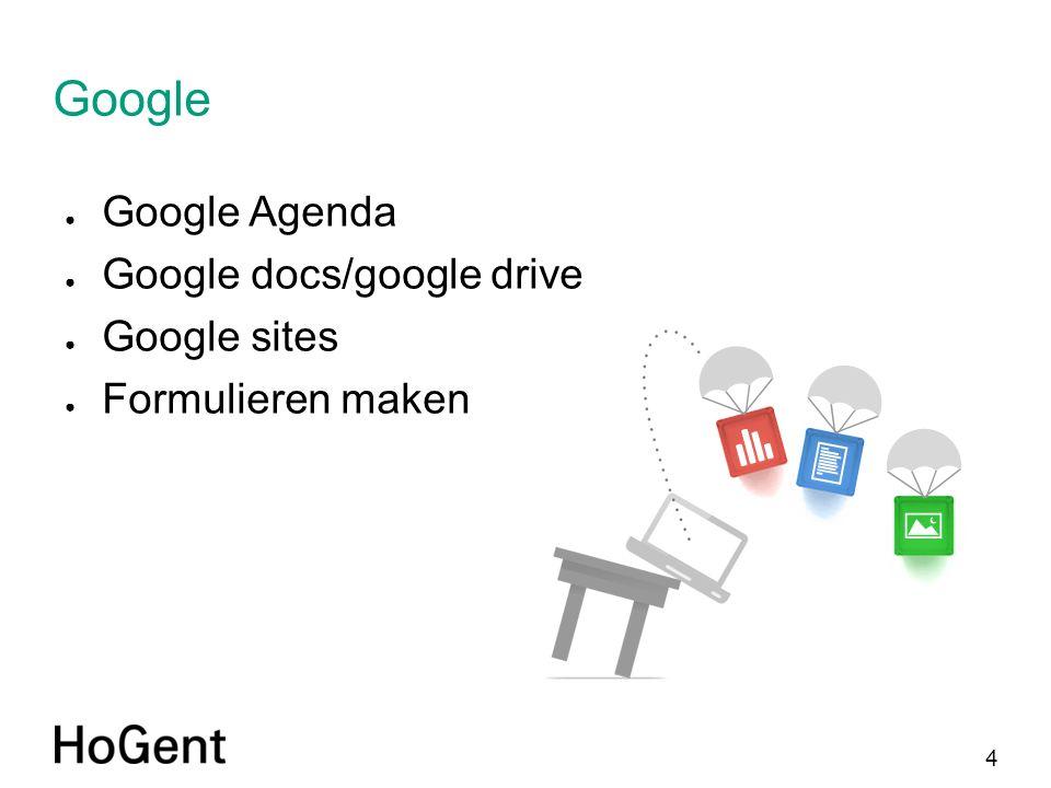 4 Google ● Google Agenda ● Google docs/google drive ● Google sites ● Formulieren maken