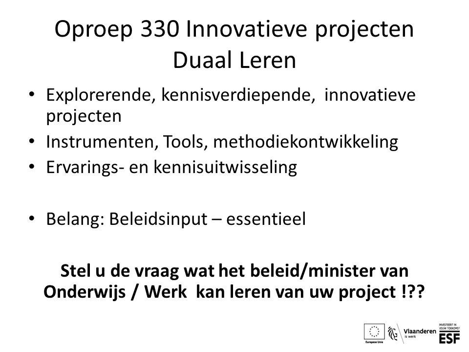 Oproep 330 Innovatieve projecten Duaal Leren Explorerende, kennisverdiepende, innovatieve projecten Instrumenten, Tools, methodiekontwikkeling Ervarin