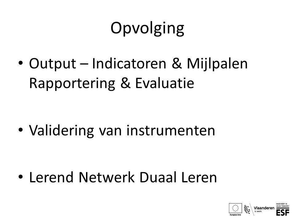 Opvolging Output – Indicatoren & Mijlpalen Rapportering & Evaluatie Validering van instrumenten Lerend Netwerk Duaal Leren